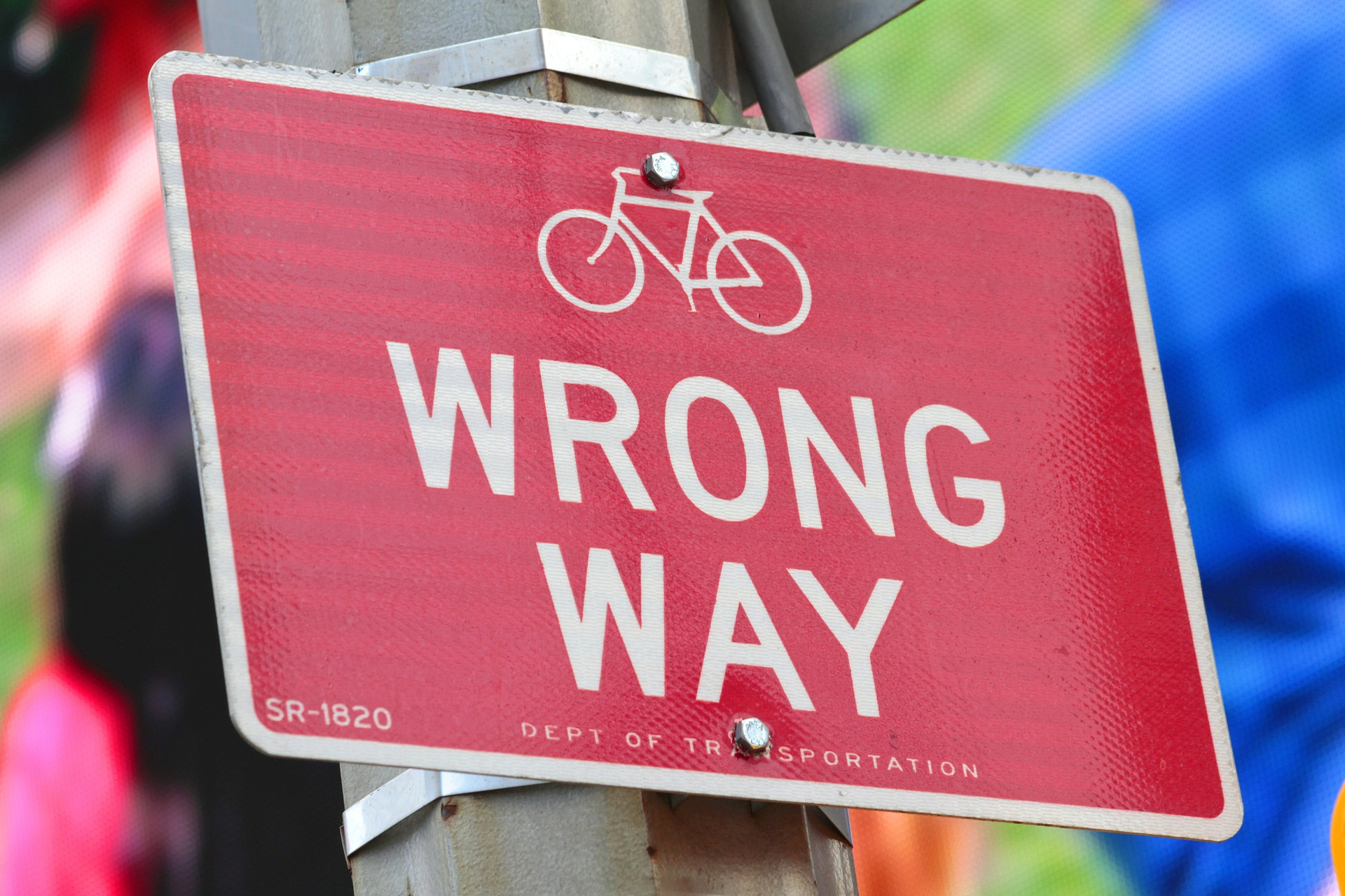 Wrong way signpost